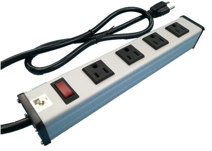 Metal 4 Way Multi Outlet Power Strip With On Off Switch For Workshop / Office
